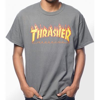 Koszulka THRASHER Flame Logo Charcoal