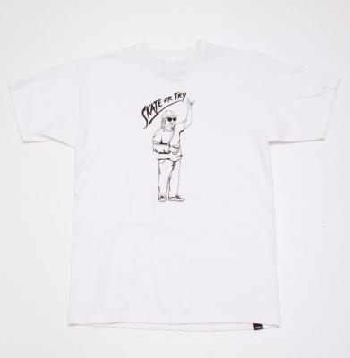 Koszulka VANS SKATE OR TRY WHITE