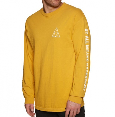 Longsleeve HUF Essentials Triple Triangle Mineral Yellow
