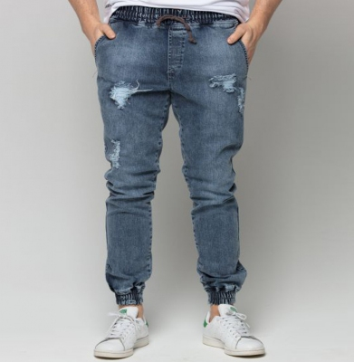 Spodnie DIAMANTE WEAR Jogger Ripped Blue Jeans