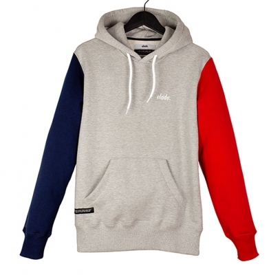 Bluza ELADE COLOUR BLOCK HOODIE GREY/NAVY BLUE/RED