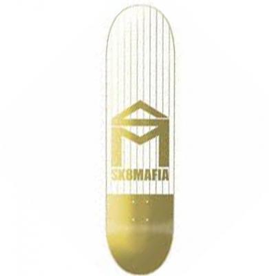 Deska SK8MAFIA HOUSE LOGO PINSTRIPE GOLD 8.5 + Papier Gratis