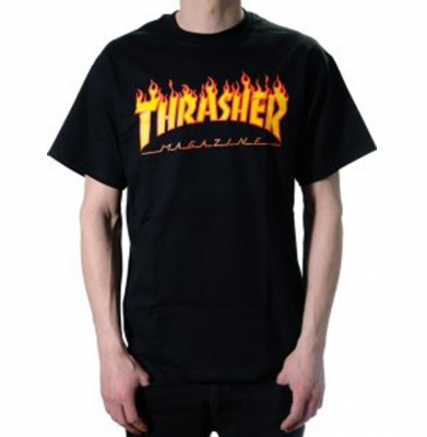 Koszulka THRASHER Flame Logo Black