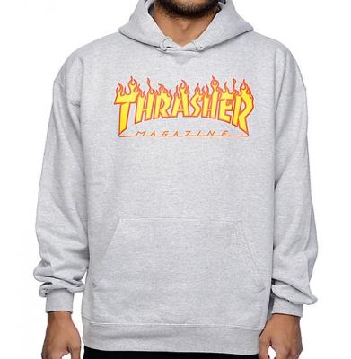 Bluza THRASHER Hood Flame Logo Grey