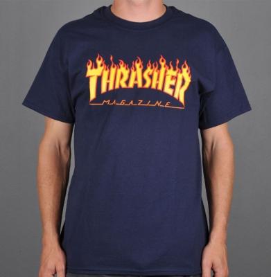 Koszulka THRASHER Flame Logo Navy Blue