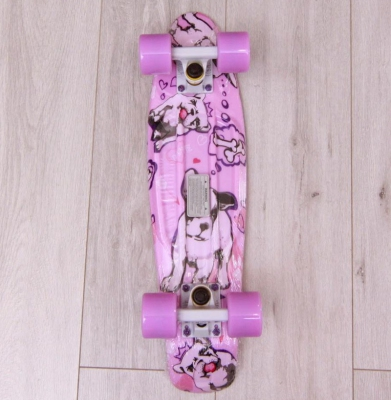 Deskorolka FISH SKATEBOARDS DOGS White/Pink